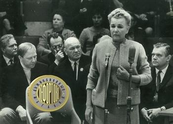 слева направо: Олег Попов, Екатерина Фурцева, Николай Гладильщиков. Фото 1960 гг.