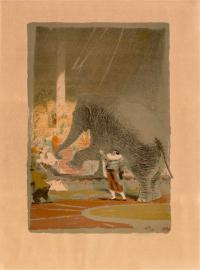 дрессировщик Дуров В. Г. «Умный слон» из серии литографий цирк, период ссср 1958 год.