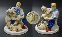 статуэтка дрессировщик Гладильщиков Н.П. с медведями.
