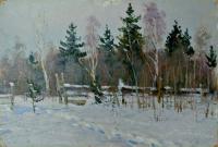 этюд «Зима» 1958 год, художник Котов В.И.