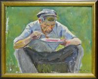 этюд к картине, художник Манаков Б.А. соцреализм 1979 год.