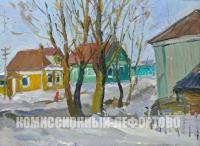 картина «Мартовское солнце, Сосенки», художник Евгений Иванович Третьяков 1985 год.