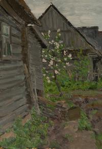 картина Яблоня цветёт, художник Котов В.И. 1961 год.
