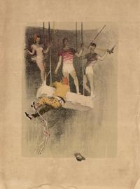 клоун Олег Попов «На мостике» из серии литографий цирк, период ссср 1958 год.