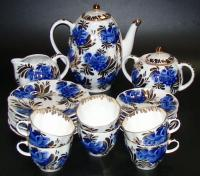 чайно - кофейный сервиз синяя птица ЛФЗ 1970 - 80 гг.