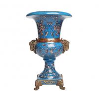 ваза декоративная фаянс с декором из бронзы, золочение.