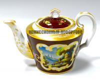 заварочный чайник «Живописное заведение Тимофея Кудинова», императорская Россия середина 19 века.