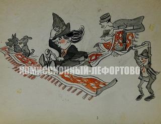 клоуны Карандаш (Михаил Румянцев), Юрий Никулин, Михаил Шуйдин. Карикатура  1950-1960 гг.