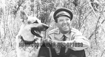 В перерыве между съёмками художественного фильма «Ко мне, Мухтар» младший лейтенант милиции Глазычев (Юрий Никулин) и Мухтар (Дейк), фотография 1964 год.