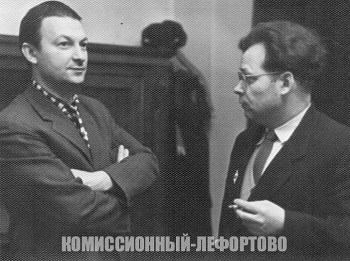 Георгий Вицин и советский актёр театра и кино Евгений Ефимович Шутов, фотография 1950 гг.