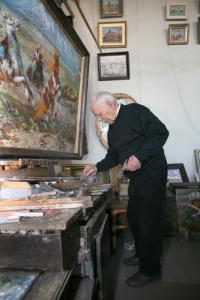художник Михаил Будкеев за работой в мастерской 15.09.2008 год.