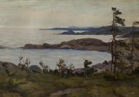 этюд Баренцево море фьорды 1962 год. К/М 42,5 Х 30 см.