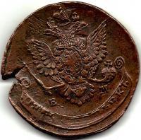 5 копеек 1787 г. перечекан