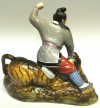 Бой с тигром статуетка жанровая, Китай 1940 -1950 гг.