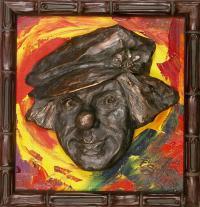 Бронзовый портрет Олег Попов, скульптор Сапожкова Елена 2003 год