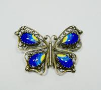 брошь «бабочка» ростовская финифть, филигрань, период ссср 1980 гг.