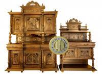 буфет классический и буфет сервировочный с жанровой резьбой и богатым декором, европа XIX век
