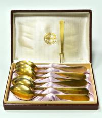 чайные ложки серебро-эмаль, набор период ссср 1960 - 1970 гг.