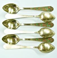 чайные ложки шесть штук, серебро-эмаль период ссср 1960 - 1970 гг.