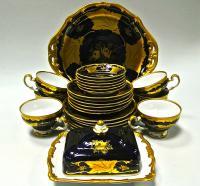 чайный сервиз weimar кобальт золото, германия 1970 гг.
