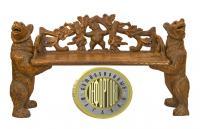 деревянная скамья «медведи», европа XIX век.