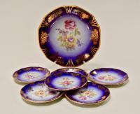десертный набор шесть розеток и малое блюдо с традиционным орнаментом Мейсеновский букет.