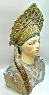 девушка в кокошнике, майолика ссср 1950 - 1960 гг.