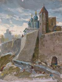 картина «древние стены кремля Псков» - собственность частной коллекции.