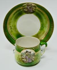 две чашки и блюдце «пастушки» дмитровская ф-ка в вербилках, фарфортрест, период рсфср 1920-1924 гг.