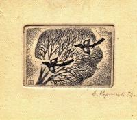 эксклибрис, художник Коротеева Е.И. 1972 год