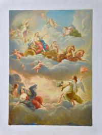 Эскиз плафона «Купеческая лестница» Большой дворец Петергоф, художник Любимов Л.А. 1978 год.