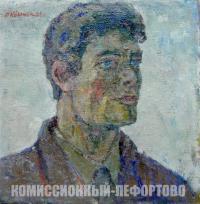 этюд «голова лётчика» художник Крымский А.Я. период ссср 1958 год.