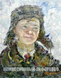 этюд «Голова мальчика» художник Крымский А.Я. период ссср 1955 год.