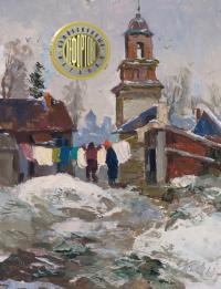 этюд «Весна в Пскове», период ссср 1961 год.