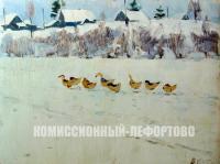 этюд Гуси 1956 год, художник Котов В.И.