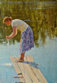 этюд У воды 1958 год, художник Воробьева Н.Д.