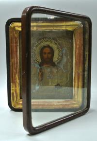 икона Господь Вседержитель в киоте,  до 1917 года.