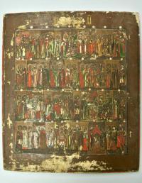 икона Месяцеслов на месяц Октябрь (старый стиль), последняя четверть 19 века.