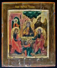 Икона Троица Ветхозаветная, Гостеприимство Авраамово с деяниями начало 19 века Палех.