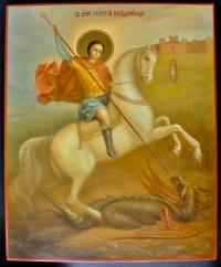 Икона Георгий Победоносец живописная, Софрино 1995 год.
