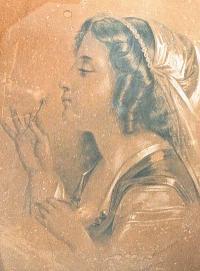 карандашный рисунок девушка с одуванчиком, художник Пожарская, К / К 1880 год.