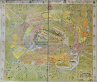 Карта Москвы XIX века 1881 год + настольная медаль В память всероссийской выставки в Москве 1882 год Александр III.