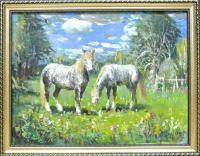 картина «Лошадки с. Овсяниково Целинный район»