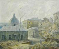 картина «Москва Подкопаевский переулок» период ссср 1989 год,