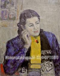 картина «Портрет молодой женщины» художник Крымский А.Я. период ссср 1959 год.