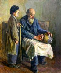 картина Дедушка и внук Х/М 105X95 1949 год