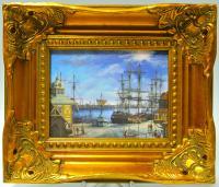 картина на фарфоре «Парусники в порту»
