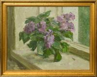 """картина """"Цветы на окне"""" художник Хайрулинов И. С. 1993 год."""