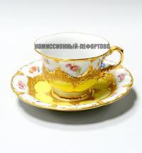 кофейная пара «мокко Meissen» с золотым декором и цветочным орнаментом, германия 1935-1940 гг.
