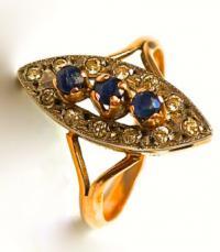 кольцо золото, сапфиры, бриллианты.